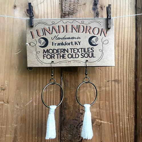 White Tassel Hoop Earrings