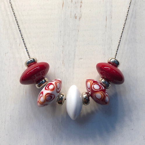 Red and White Lampwork Necklaxe
