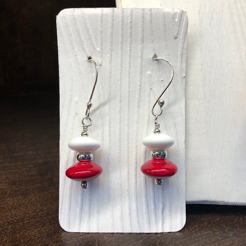 Red and White Lampwork Earrings