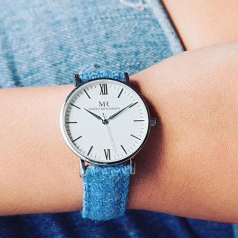 Classic watch - Blue tweed strap