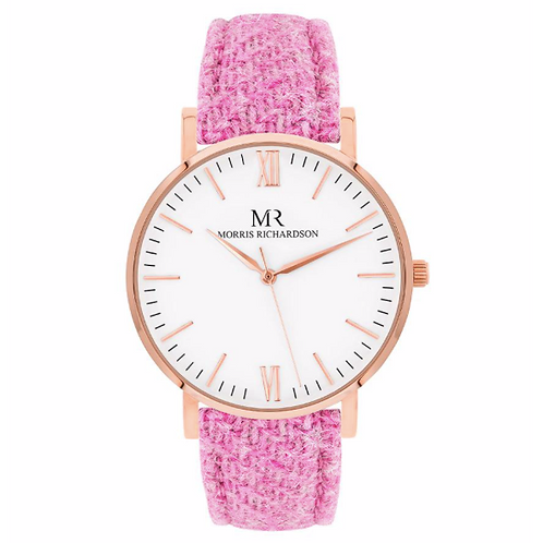 Classic watch - pink tweed strap