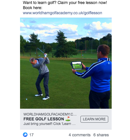 Golf Pro Facebook Advert