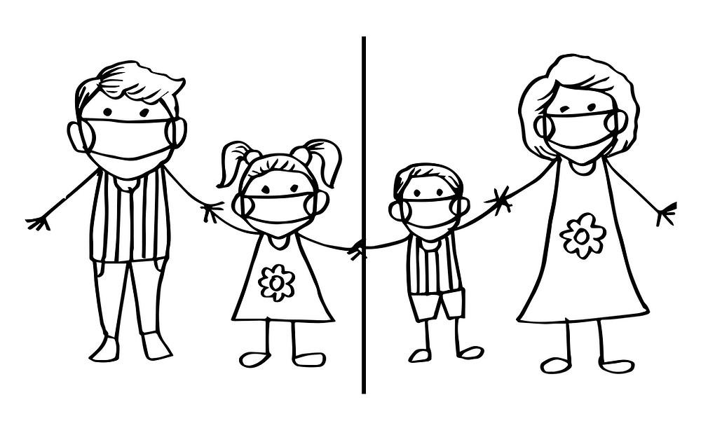 איור של משפחה עם קו שחוצה את התמונה באמצע. בצד ימין אמא מחזיקה יד לילד קטן ובצד שמאל אבא מחזיק יד לילדה קטנה, הילד והילדה גם מחזיקים ידיים ביניהם אבל הקו באמצע חוצה אותם. לכולם יש מסכת אף פה על הפנים