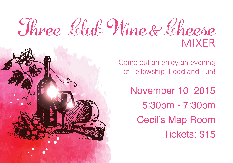 Three Club_Wine & Cheese Mixer_Invite