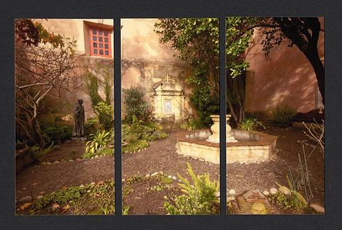 WT62 Carmel Mission Courtyard Triptych