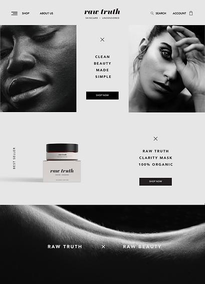 modern minimal organic skincare brand website design