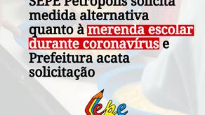SEPE Petrópolis solicita medida alternativa quanto à merenda escolar durante coronavírus