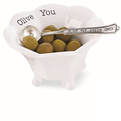 Olive You Condiment Bowl with Spoon