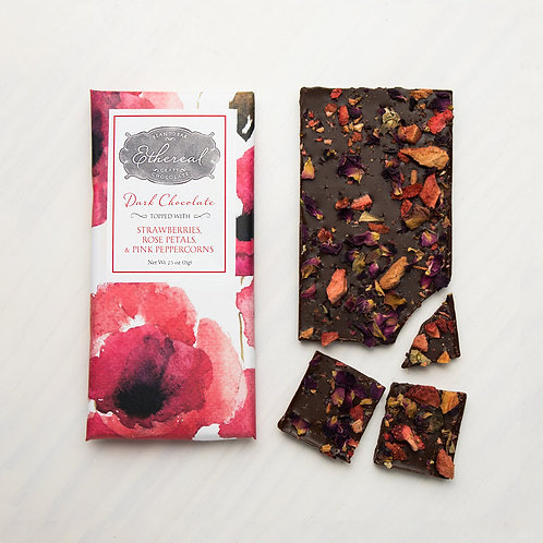 Ethereal Chocolate with Strawberries, Rose Petals & Pink Peppercorn