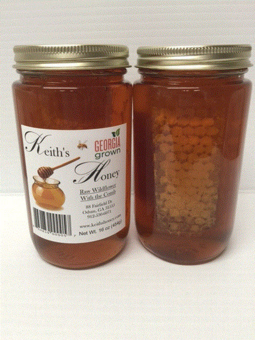 16oz Wildflower Honey - with the comb