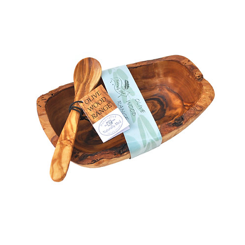 Olive Wood Natural Bowl & Spoon