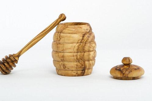 Olive Wood Honey Jar w/Dipper
