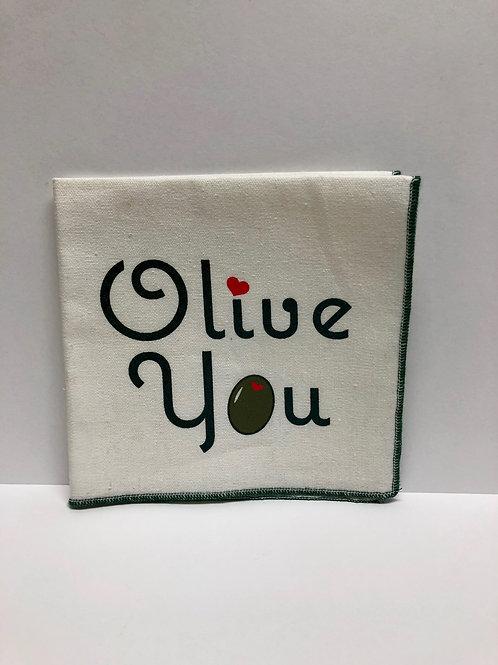 "Olive You Linen 10"" Cocktail Napkin"