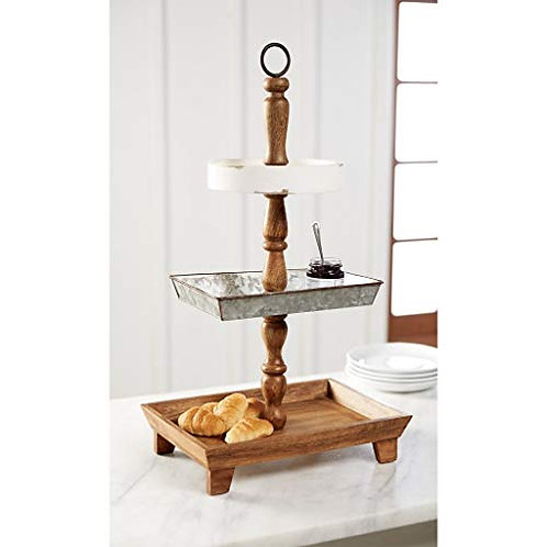 Wood & Tin Tiered Server