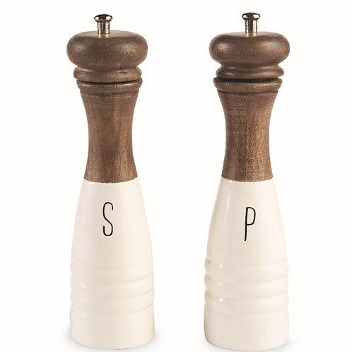 Wood & Enamel Salt & Pepper Shaker Set