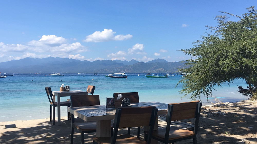 The view of Lombok from the beach of Gili Trawangan