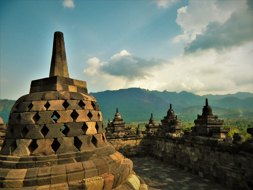 View from the top of Borobudur Temple, Indonesia