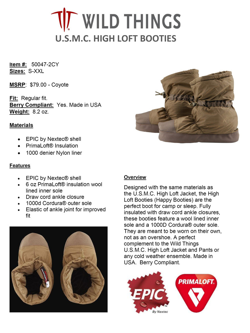 WT HIGH LOFT BOOTIES USMC