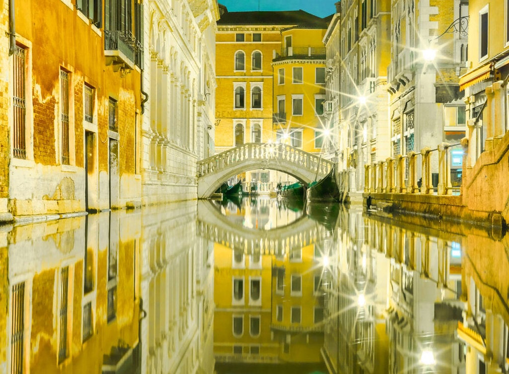 Venice Canal Reflection at Night