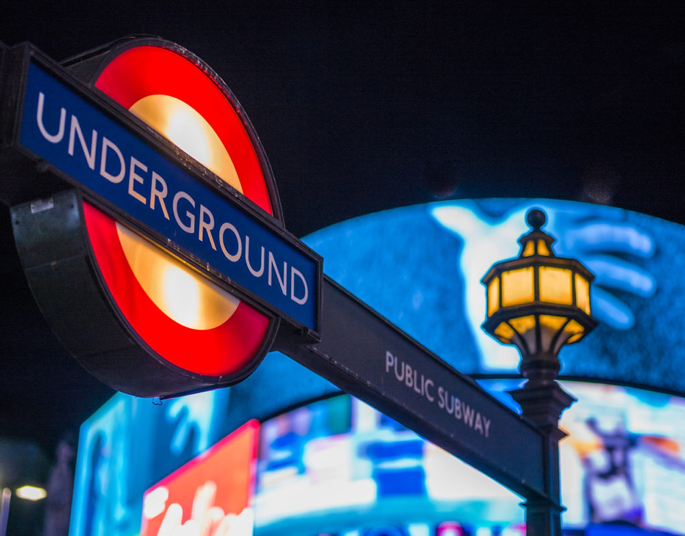 Picadilly Circus in London at night.