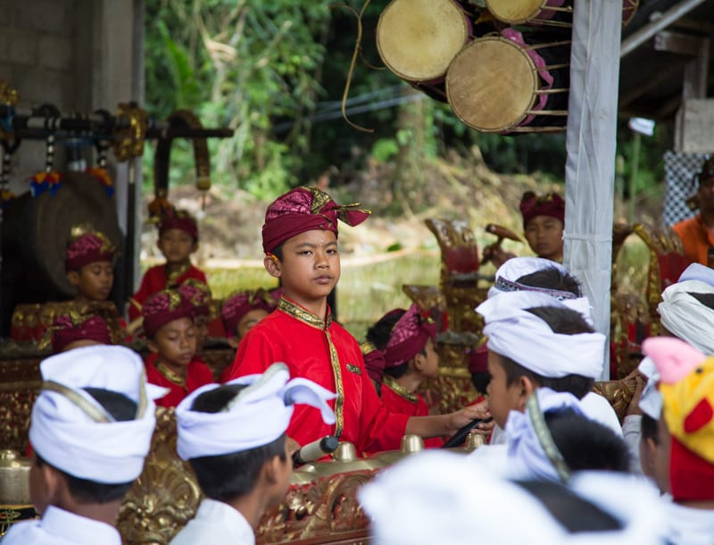 Balinese Children at a temple in Bali