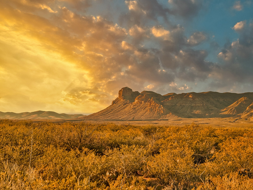texas mountains during sunset