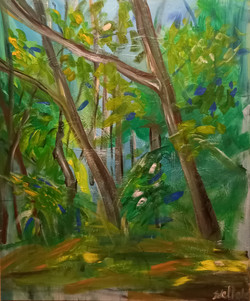 stromy, akryl  na plátně
