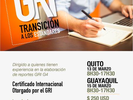 Único Curso GRI Certificado de Transición a Estándares será dictado en Quito y Guayaquil