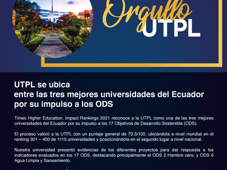 UTPL se ubica entre las tres mejores universidades del Ecuador por su impulso a los ODS