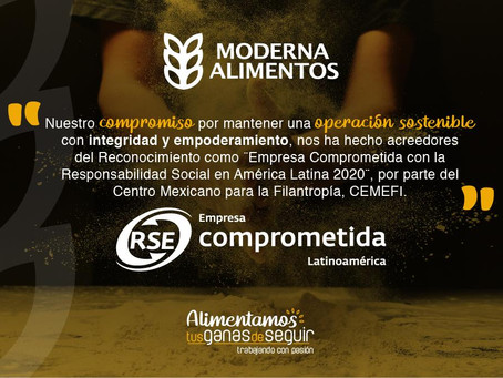 """MODERNA ALIMENTOS reconocida como """"Empresa Comprometida con la Responsabilidad Social en Améric"""