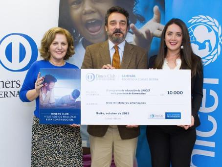 DINERS CLUB realizó donativo a Unicef en apoyo a la educación en Esmeraldas