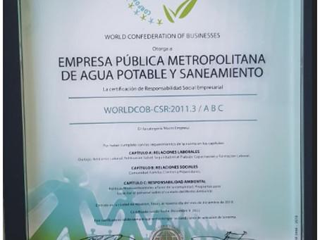 AGUA DE QUITO recibe Certificación Internacional en Responsabilidad Social Empresarial