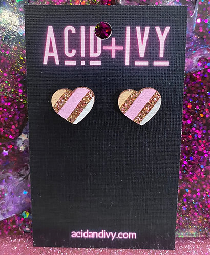 Hand painted heart studs in rose gold acrylic