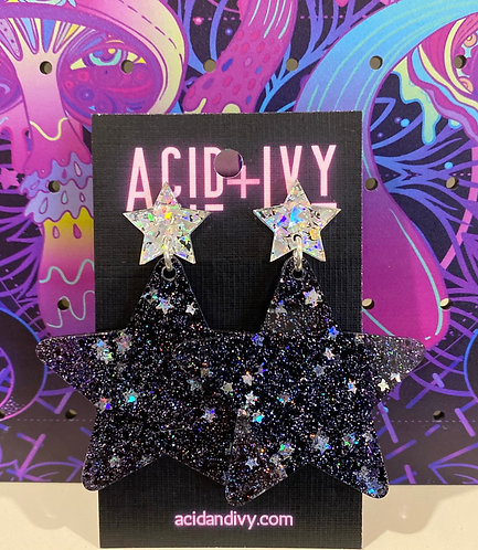 Black and Silver Glitter Shooting Stars