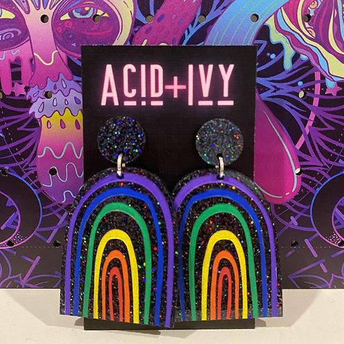 Holographic Black Acrylic Rainbows