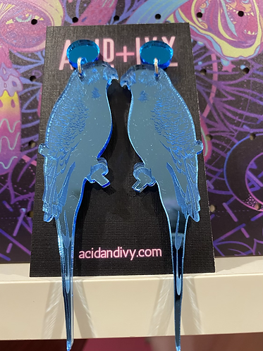 Budgie Dangles in Mirrored Blue