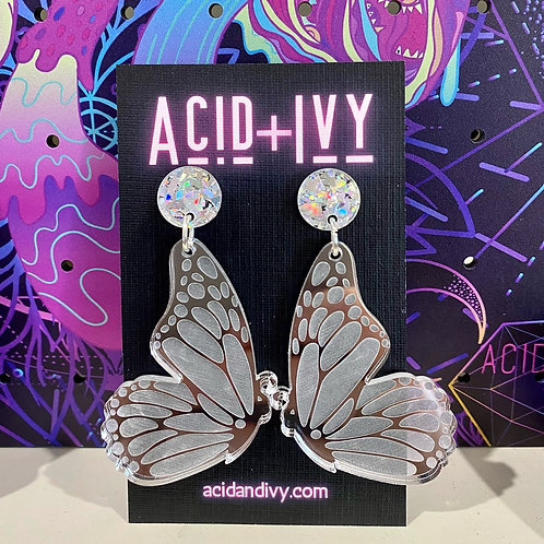Butterfly Wings in Mirrored Silver Acrylic