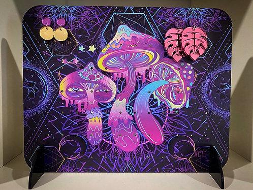 Neon Mushroom Earring Board