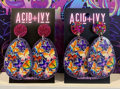 Butterflies on lilac glitter acrylic