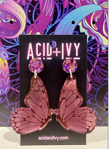 Butterfly Wings in Mirrored Pink Acrylic