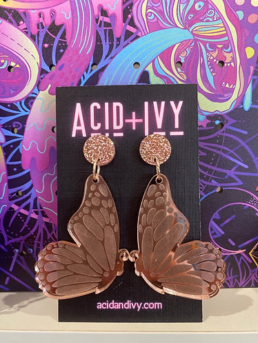 Butterfly wings in mirrored Rose Gold