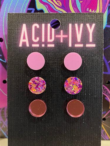 Pink Ladies 3 pair stud pack