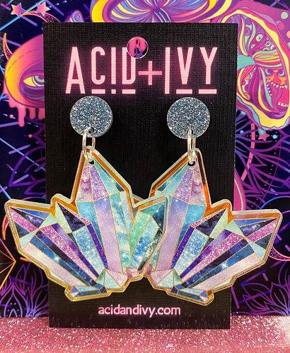 Blue Crystals on Iridescent Acrylic