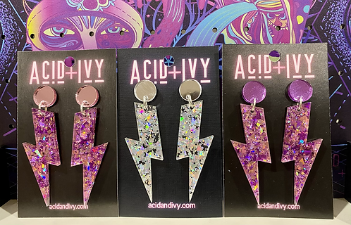 Holographic acrylic Bowie Bolts