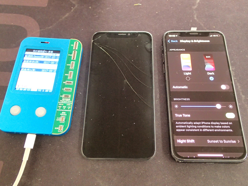 iPhoneX画面交換後TrueToneの項目が表示されている