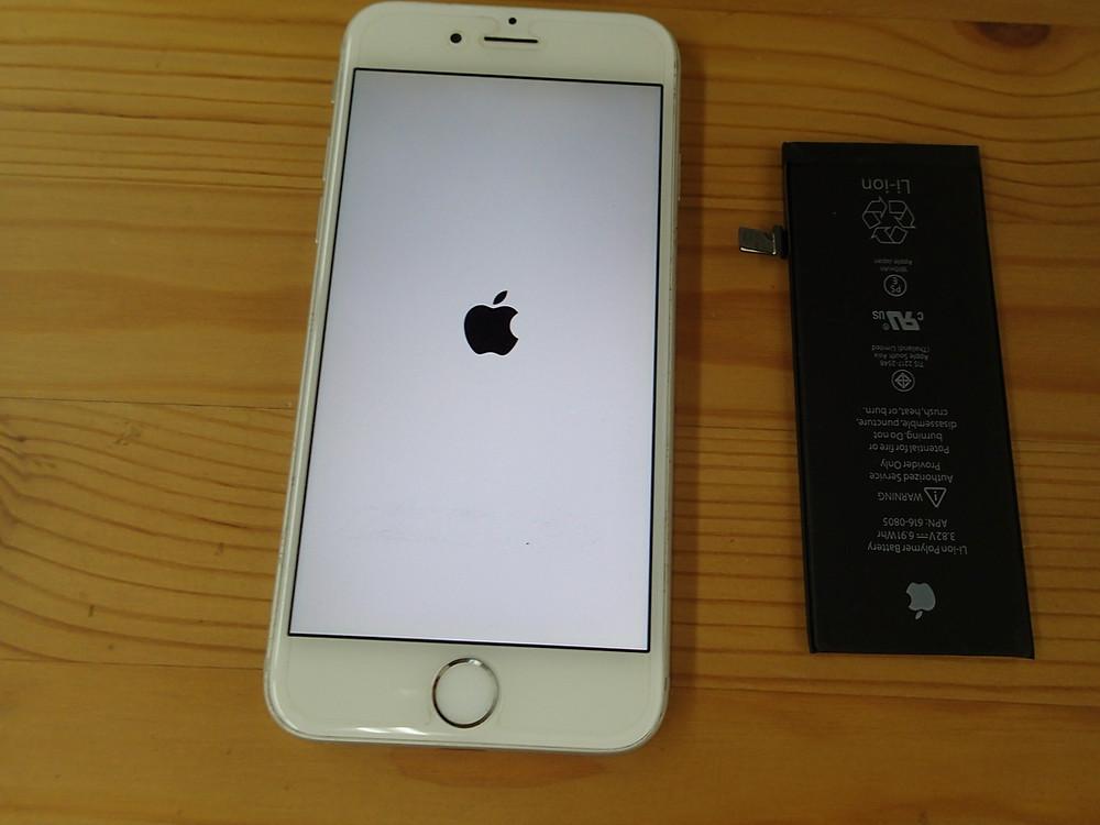 iPhone6バッテリー交換後に起動