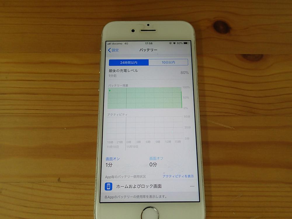 iPhoneのバッテリー使用状況のグラフがほぼ真っ白