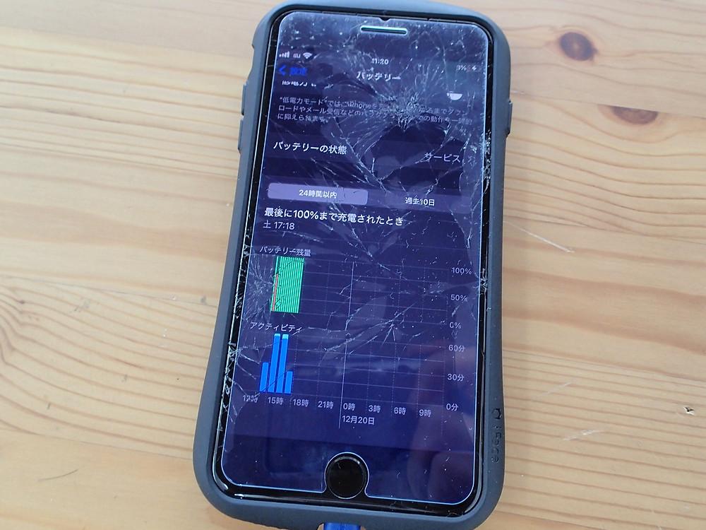 iPhone7の画面われとバッテリー交換バッテリーの残量チェックグラフで