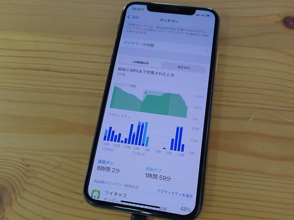 iPhoneXSバッテリー交換残量の変化