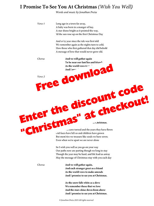 I Promise To See You At Christmas (Wish You Well) - Free Lyric Sheet